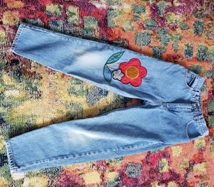 Vintage high waisted patch embroidered 'mom' jeans